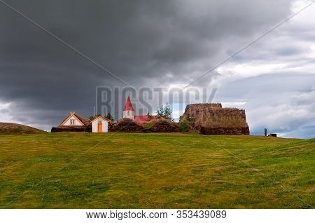 The Ancient Village Of Glumbaer In Iceland. Here An Ancient Farm Has Been Preserved, Inhabited Until
