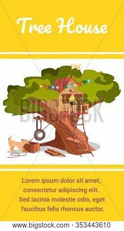 Tree House Banner. Cartoon Boy Build House On Tree, Pet Dog Help Vector Illustration. Tire Swing On