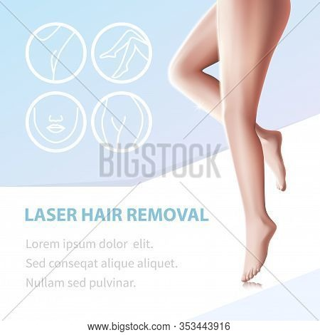 Laser Hair Removal. Smooth Legs Epilated With Modern Device And Icons With Body Areas For Depilation