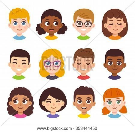 Cute Cartoon Children Avatars Set. Diverse Kids Faces In Simple Hand Drawn Style, Vector Clipart Ill