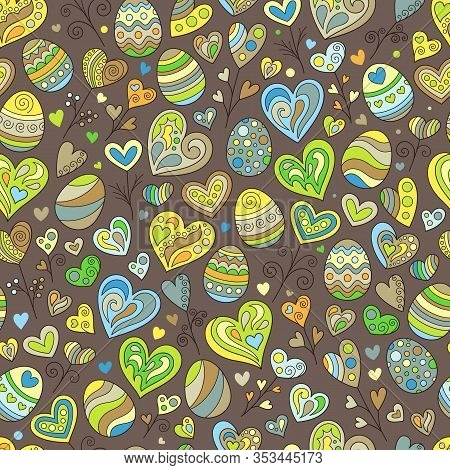 Cartoon Seamless Pattern Of Colored Doodles Easter Eggs And Heart On Brown Background. Cute Continuo