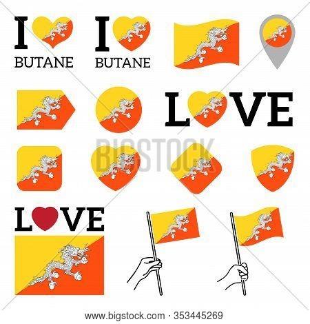 Flag Of Butane. Set Of Vector Flags Of Various Shapes. I Love Butane. Eps Illustration. Isolated Bac