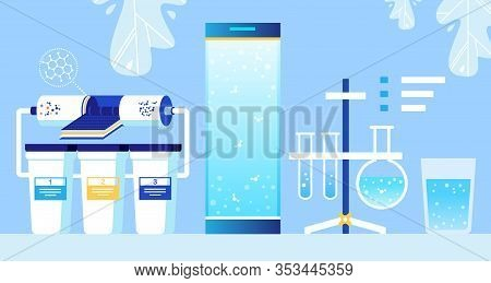 Cartoon Water Cleaning Nanofiltration System With Nanofilter And Three Reservoirs, Flasks With Chemi