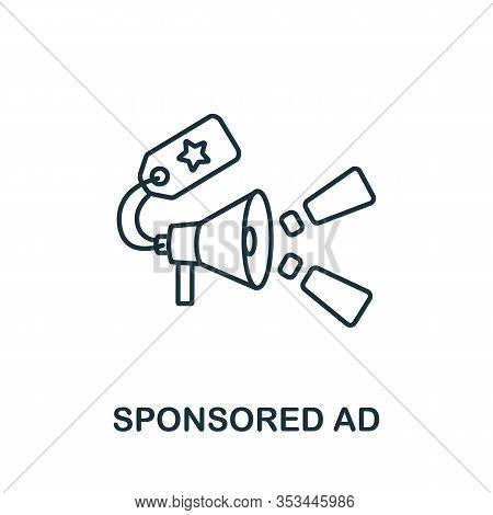 Sponsored Ad Icon From Digital Marketing Collection. Simple Line Element Sponsored Ad Symbol For Tem
