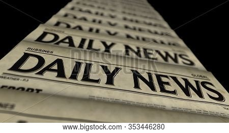 Daily News Paper Printing And Disseminating 3d Illustration. Retro Newspaper Media Press Production
