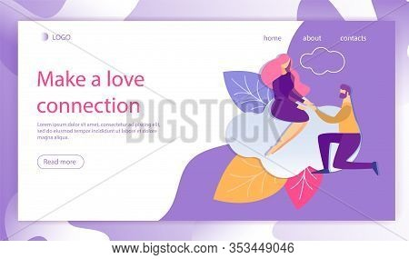 Make Love Connection Flat Cartoon Banner Vector Illustration. Man On Knee Holding Woman Hand Landing
