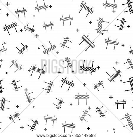 Black Road Barrier Icon Isolated Seamless Pattern On White Background. Fence Of Building Or Repair W