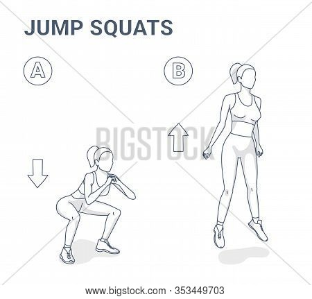 Jump Squats Workout Illustration. Outline Concept Of Girl Squatting Jumps.