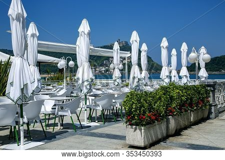 Wonderful Cafe Near The La Concha Beach With View To The Bay Of Biscay And Mount Igueldo In San Seba