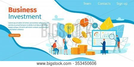 Banner Inscription Business Investment Cartoon. Men And Women Discuss And Contemplate Plan Action Fo