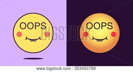 Emoji Face Icon With Phrase Oops. Silly Emoticon With Text Oops. Set Of Cartoon Faces, Emotion Icon