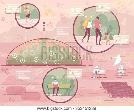 Red Planet Landscape With Cosmic Base Colony. City Building Under Dome Vector Illustration. People L