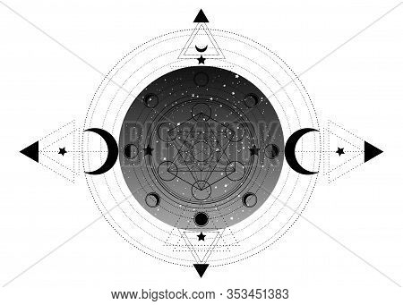 Metatrons Cube,  Flower Of Life, Sacred Geometry, Esoteric Spiritual Icon And The Moon Phases. Mason