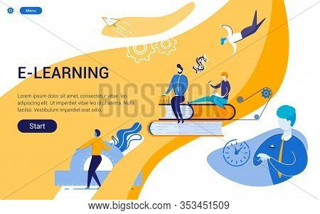 Prompt Poster Inscription E-learning, University. Reduced Students In Regular Clothing Next To Enlar