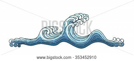 Japan Blue Wave. Japanese Oriental Style Vector Art Illustration. Vector Japan Wave Isolated On A Wh