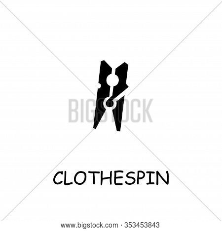 Clothespin Flat Vector Icon. Hand Drawn Style Design Illustrations.