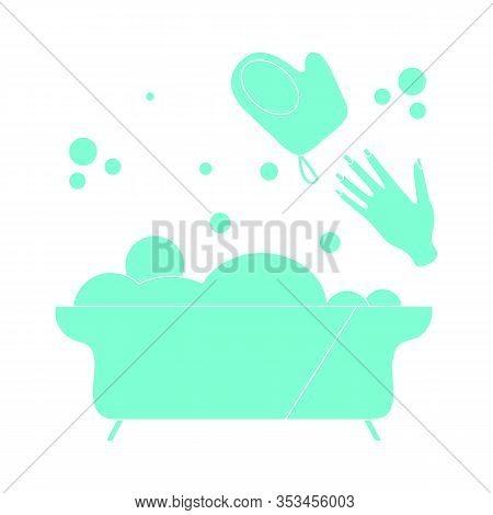 Vector Illustration Bath, Washcloth, Hand, Bubbles. Bathtub. Bathroom Set, Washing, Bathing, Cleanli