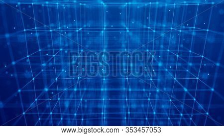 Blockchain Technology Concept. Big Data Visualization. 3D Illustration. Distributed Register Technol