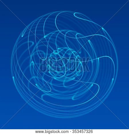Abstract Blue 3D Sphere Made Of Points. Futuristic Technology Style. Sphere Particles. Plexus Effect