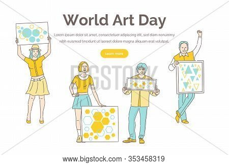 World Art Day Vector Landing Page Template With Text Space. Cartoon Outline Characters Holding Poste