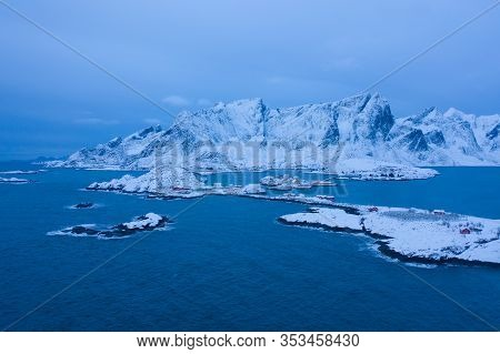 Aerial View Of Norwegian Fishing Village In Reine City, Lofoten Islands, Nordland, Norway, Europe. W