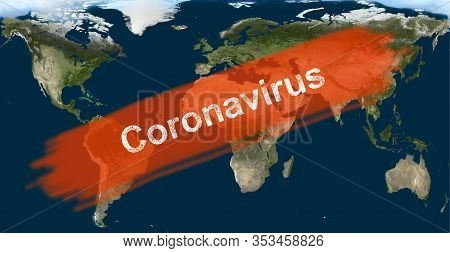 COVID-19 epidemic, word Coronavirus on global map. Novel coronavirus outbreak in China. The spread of corona virus in world. Coronavirus infection concept. Elements of this image furnished by NASA.