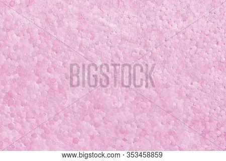 Polystyrene Or Styrofoam Texture Background. Detail Of Styrene Foam Plastic Box Sheet. Pink Styrofoa