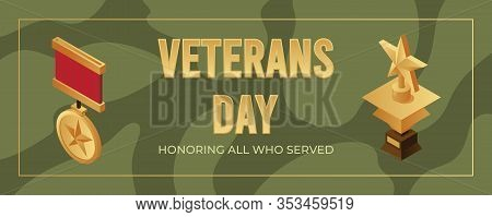 Veterans Day Banner Design Template. Golden Medals With Stars And Space For Text Isometric Illustrat