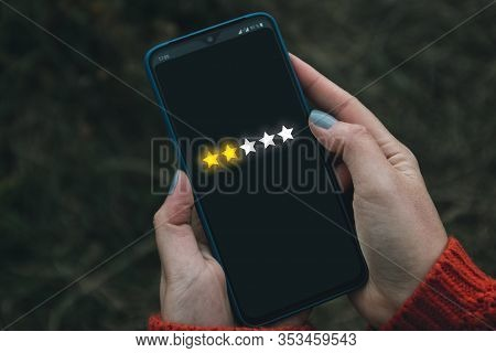 Feedback, Review And Increase Rating Concept Banner. Digital Phone User Give Five Stars In His Revie