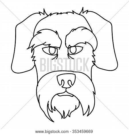 Cute Cartoon Monochrome Schnauzer Dog Face Breed Lineart Vector Clipart. Pedigree Doggie Breed For D