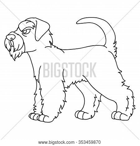 Cute Cartoon Monochrome Schnauzer Dog Breed Lineart Vector Clipart. Pedigree- Doggie Breed For Dog L