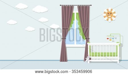 Baby Room Interior Vector Flat Concept. Room With Baby Bed, Toys, Cute Clouds And Funny Watches On W