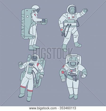 Astronauts In Spacesuits Isolated On Blue Background. Spacemen, Cosmonauts With Space Equipment Vect