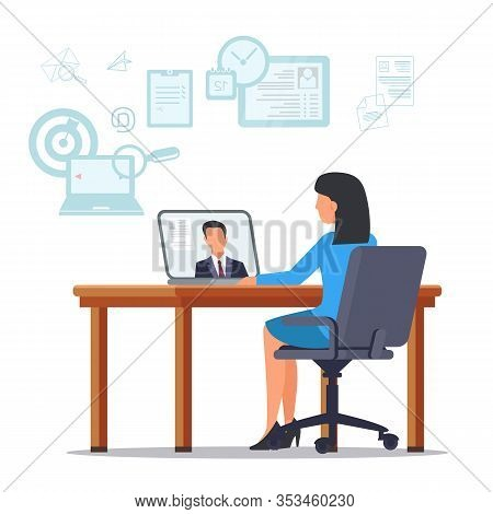 Woman In Blue Dress Sitting At Table With Laptop. Resume On Laptop Monitor. Open Vacancy. Search Can