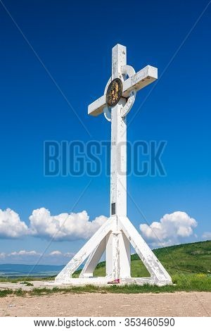 Anapa, Russia - May 30, 2017: Orthodox Bow Cross Monument On Observation Platform In Supsekh Village