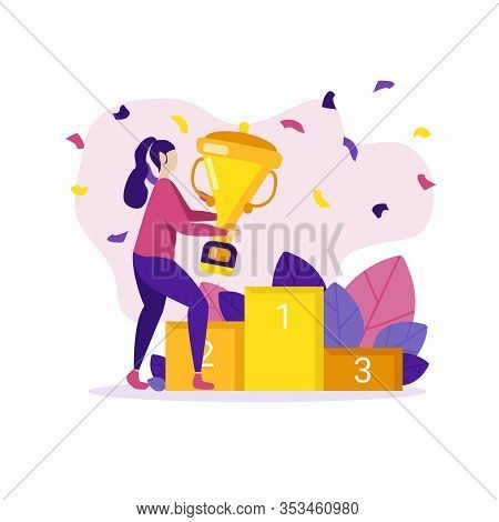 Woman Businesswoman Student Trainee Got Golden Winners Cup First Place Podium Flat Vector Illustrati