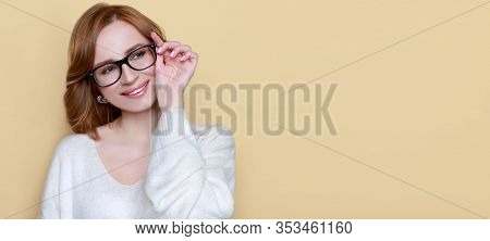 Close Up Portrait Of Cheerful Satisfied Successful Woman Wearing Optical Glasses For Sight Vision Co