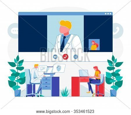 Telemedicine Videocall Technology Flat Illustration. Patient Calling Doctor Cartoon Character. Physi