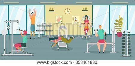 Disabled People Having Rehabilitation In Gym Flat Cartoon Vector Illustration. Training Equipment Fo