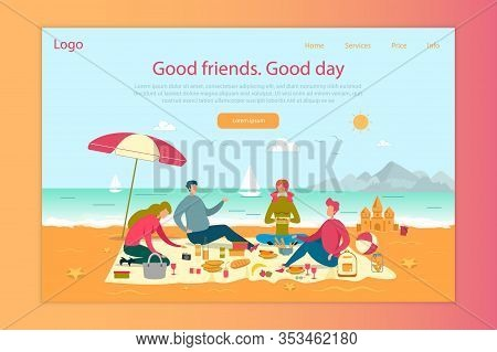 Friends Picnic On Beach Flat Landing Page Template. People Weekend Outing Web Banner Vector Layout.