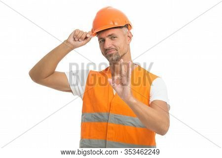 Well Done. Excited Electrician Show Ok Gesture. Handsome Service Worker Isolated On White. Asphalt W