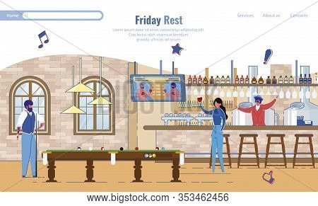 Landing Page Inviting Spend Friday At Cafeteria. People Characters Rest At Last Work Week Day. Offic