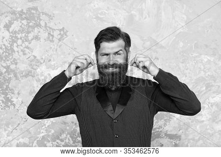 Well Groomed Hipster. Barbershop Concept. Beauty Industry. Facial Hair Care. Mature Man Bearded Hips
