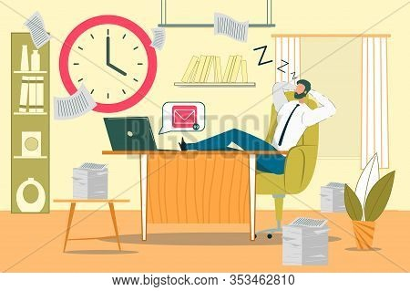 Sleeping Office Worker Flat Vector Illustration. Inefficient Company Employee Sleeping At Work Carto