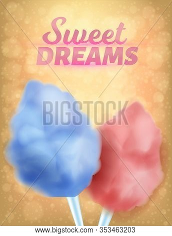 Realistic Banner Natural Colorful Sweet Dreams. Culinary Product Sweet Sugar, Loose In Consistency C