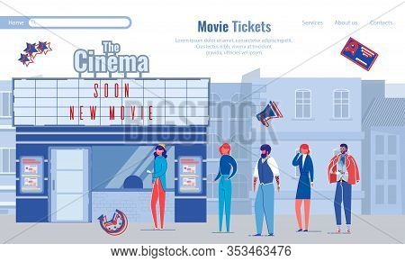 Banner Going To Cinema With Friends, Movie Tickets. People Stand In Line At Box Office Cinema. Girl