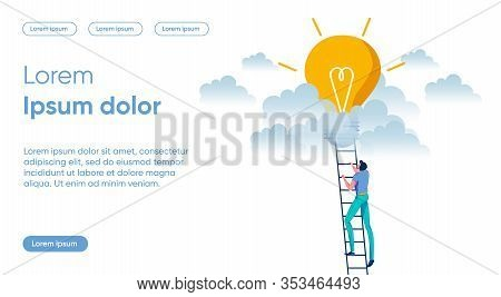 Businessman Character Climbing On Ladders To Electric Bulb As Striving For Goal - Metaphor. Innovati