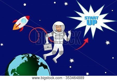 Global Startup Expansion Planning Illustration. Entrepreneur In Space Suit In Open Space Cartoon Cha