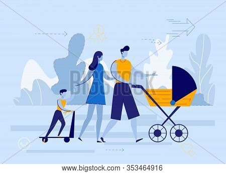 Flat Man And Woman With Children Walk On Street. Young Family Couple Communicate. Husband And Wife C
