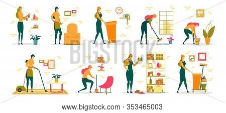 Woman At Household Activities, Professional Cleaning Service Worker Or Housewife Cartoon Female Char